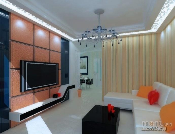 小户型现代暖色调客厅装修样板间