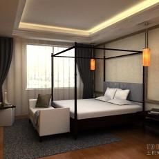 美式卧室样板房效果图