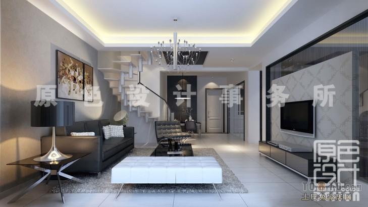 面积107平北欧三居客厅装修实景图片大全