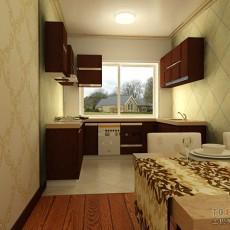 现代一字型厨房橱柜装修设计效果图