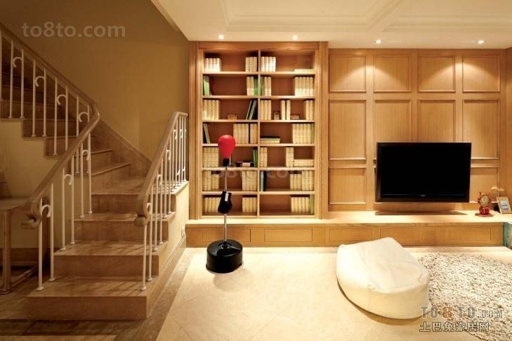 复式楼实木电视背景墙装效果图大全2013图片