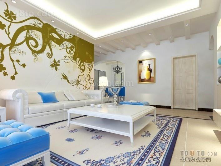 地中海客厅沙发背景墙装修效果图大全