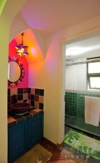 地中海风格洗手池浴池墙壁隔断装修设计