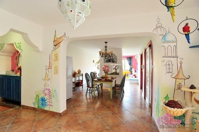 地中海风格厨房餐厅卡通墙壁隔断装修效果图