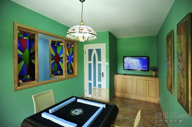 绿色棋牌室装修设计 电视背景墙装修效果图
