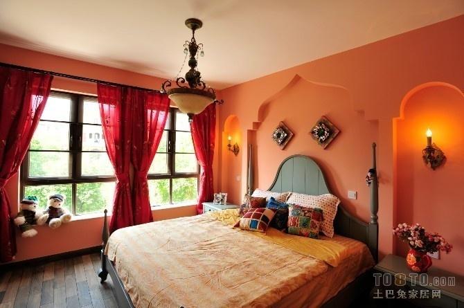 橙红色卧室吊顶装修效果图 卧室飘窗装修图片