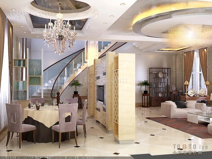 别墅客厅与餐厅隔断装修效果图