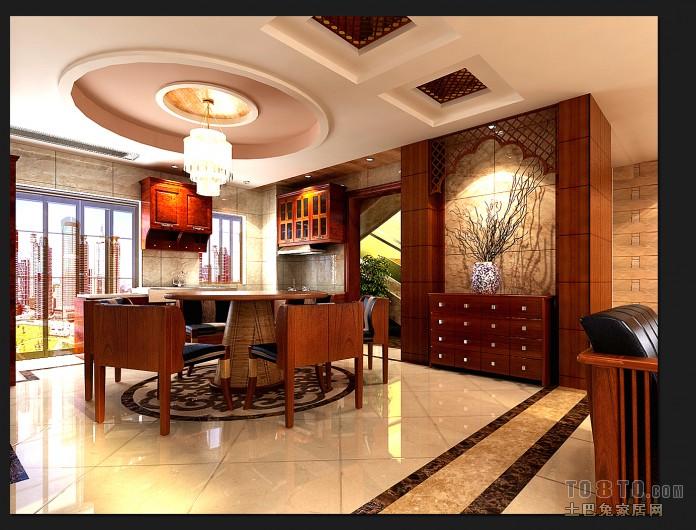 现代中式别墅室内榻榻米效果图