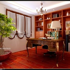 书房书桌和书柜效果图