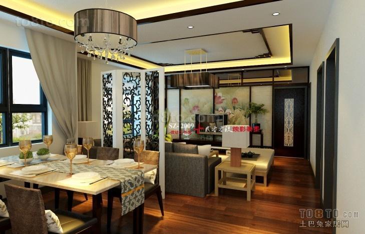 现代中式风格餐厅吊顶效果图大全2013图片