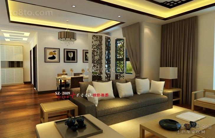 现代中式风格客厅吊顶装修效果图大全2013图片