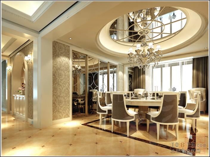 欧式餐厅酒柜吊顶效果图