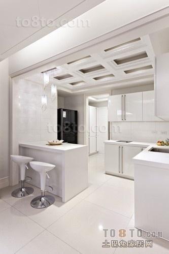 白色开放式厨房装修效果图