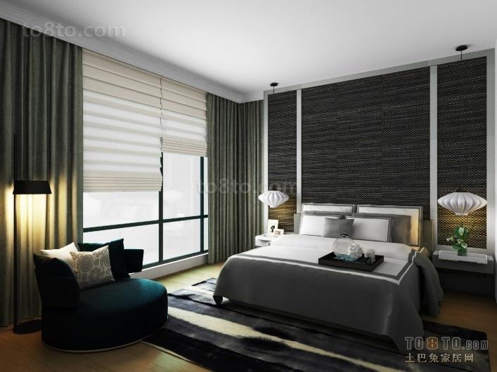 70万打造四居简约风格卧室窗帘装修效果图大全2012图片