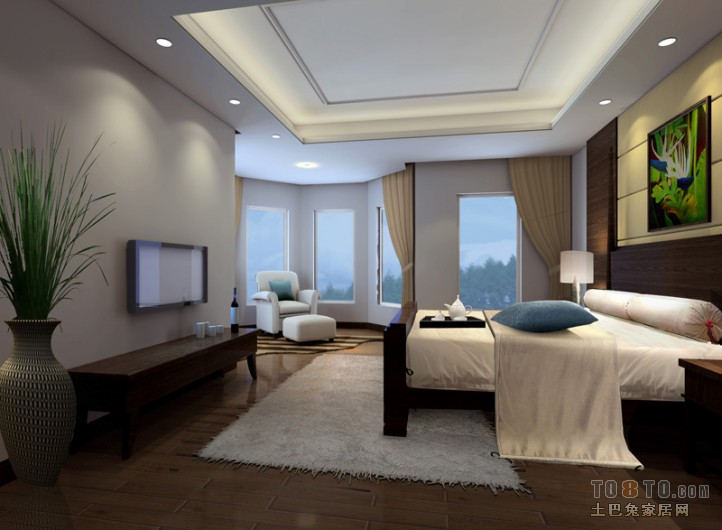 热门139平米四居卧室混搭装修效果图片
