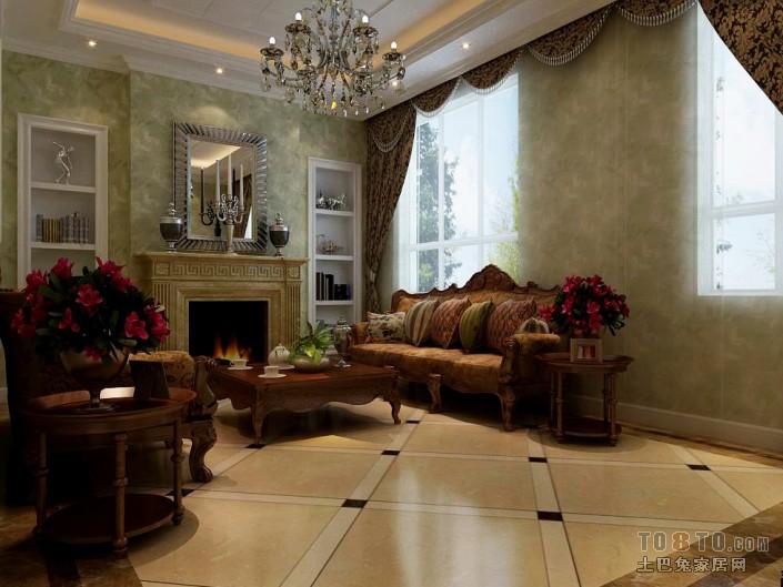 質樸58平混搭復式客廳裝飾圖片