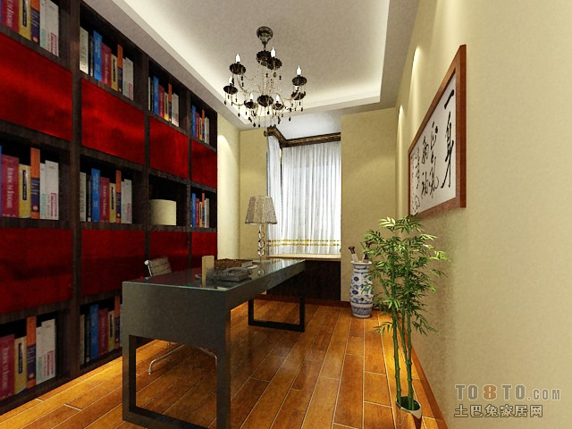 北美橡木-书房-新中式风格