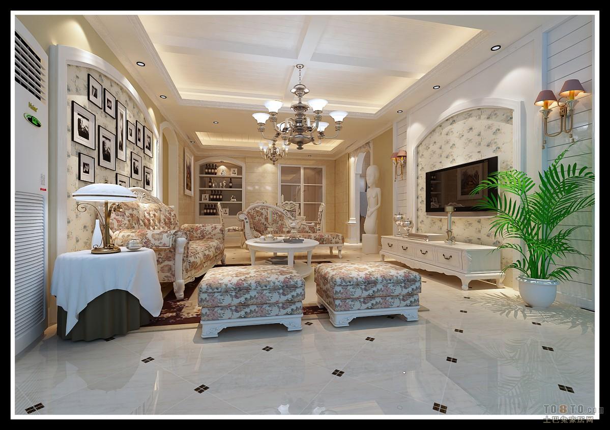 欧式田园风格客厅装修效果图大全