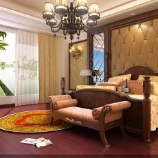 美式卧室实木床图片