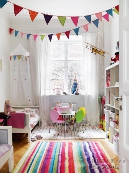 超可爱儿童房卧室兼书房装修效果图