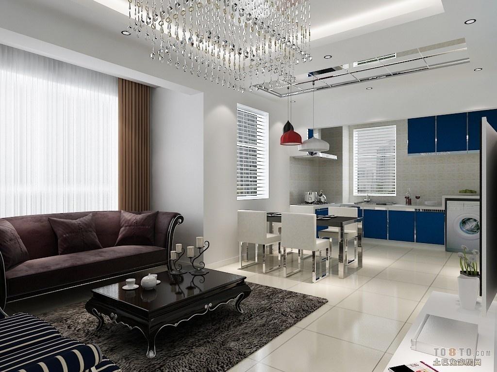 2018面积87平小户型客厅混搭装修设计效果图片欣赏