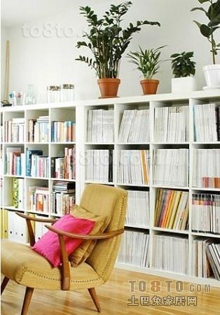 现代风格二居书柜图片
