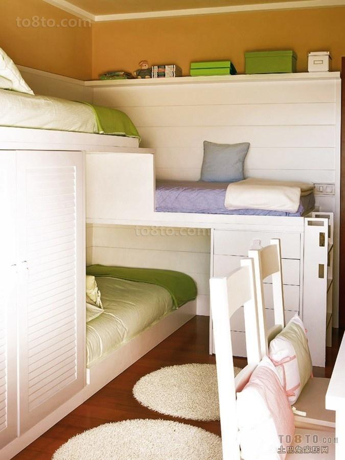 上下铺三胞胎儿童房装修效果图