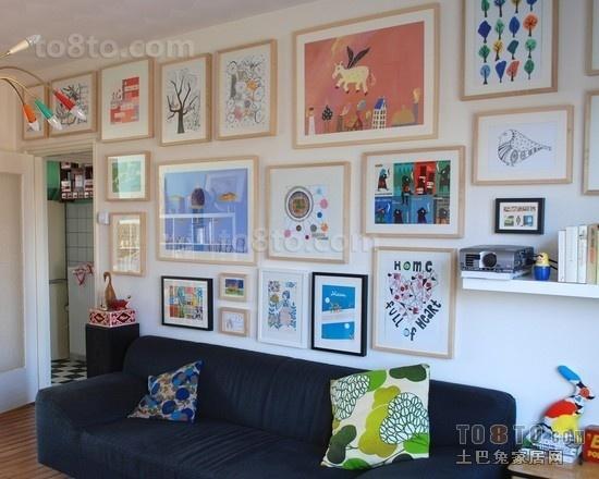 创意客厅沙发照片背景墙装修效果图