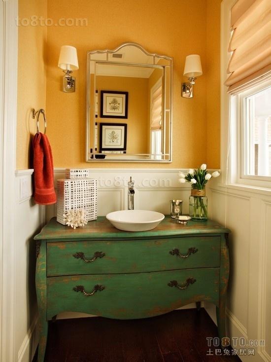 黄色背景墙洗手池装修效果图