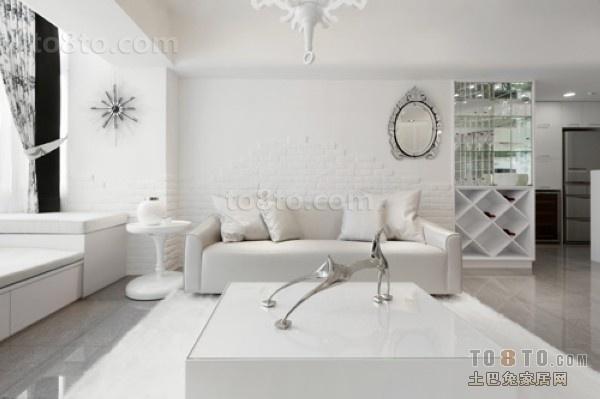 现代简约风格的客厅,白色调使房间浑然一体