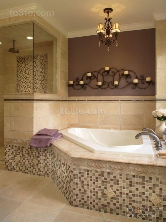 欧式风格马赛克瓷砖卫生间吊顶装修效果图 浴缸装修图片
