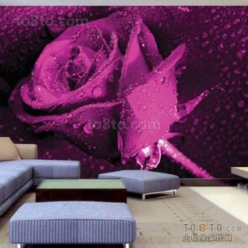 紫色玫瑰客厅背景墙装修