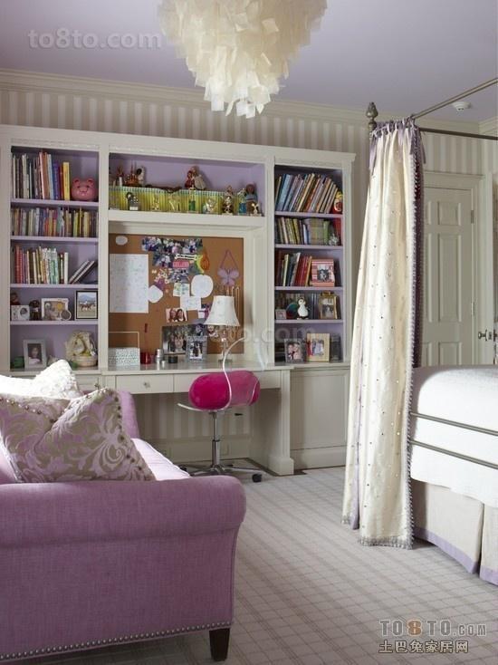 淡紫色书房卧室装修效果图