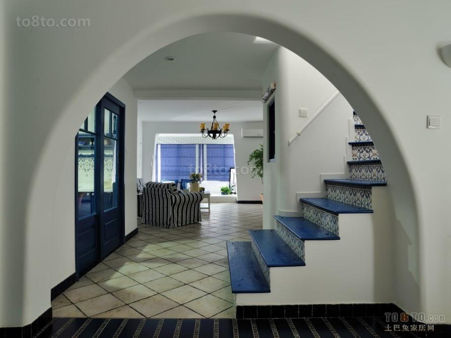 蓝色清爽 地中海风格式的楼道