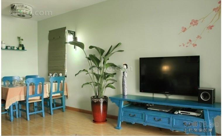 小户型田园风格客厅电视背景墙装修效果图大全