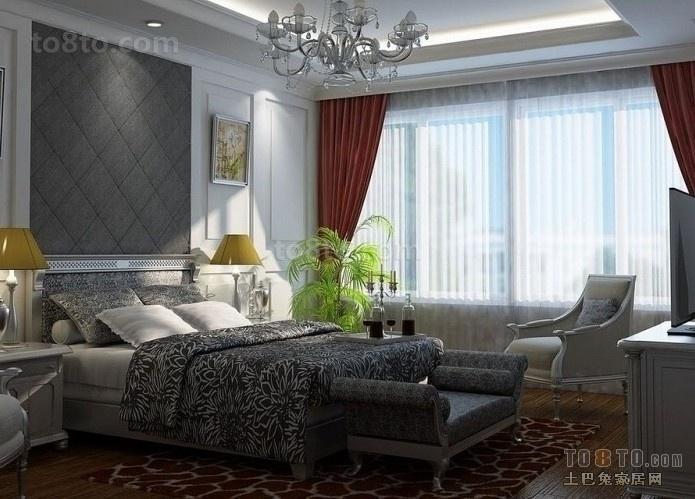 灰色调打造深沉的卧室吊顶装修效果图