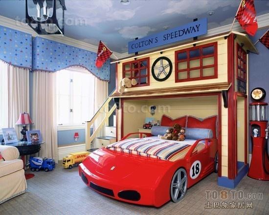 欧式风格汽车造型的儿童房装修效果图