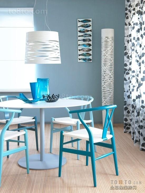 蓝色餐厅吊顶灯装饰效果图