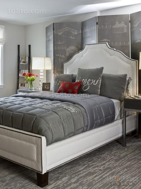 简约卧室装修效果图大全2012图片 简约灰色卧室床头屏风图片