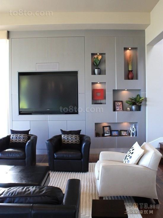 简约客厅电视柜背景墙装修效果图