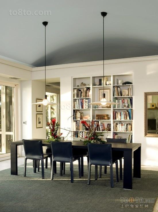 简约书房书架装修效果图 石膏板吊顶装修设计