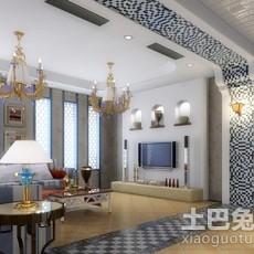 2018精选面积84平地中海二居客厅装修设计效果图