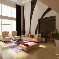 面积127平复式客厅简约装修实景图