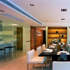 面积98平现代三居餐厅装修效果图片
