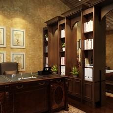 面积122平复式书房美式装饰图