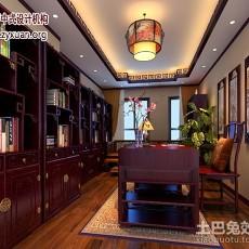热门面积127平复式书房中式装修效果图片欣赏