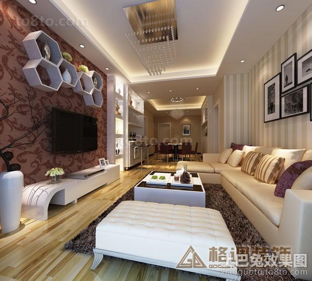 现代客厅电视背景墙置物架装修效果图