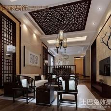 热门面积120平别墅客厅中式装修图片大全