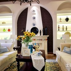 精选面积84平地中海二居客厅装修实景图