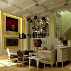 面积120平复式客厅欧式设计效果图